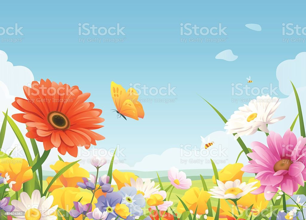 Schönen Sommer Blumen – Vektorgrafik