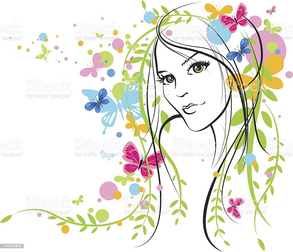 Beautiful summer girl royalty-free stock vector art