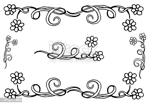 Beautiful summer pattern of flowers. Decoration frame from camomiles on a white background. Color book. Fashion in a vector illustration