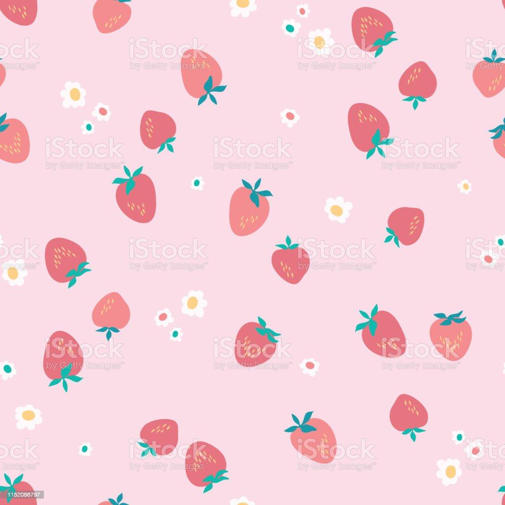 イチゴと花と美しい夏の柄ピンクの背景に抽象植物の質感生地壁紙
