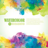 Beautiful Summer Watercolor background. Tropical colors and fresh style. Green, yellow, purple, blue.