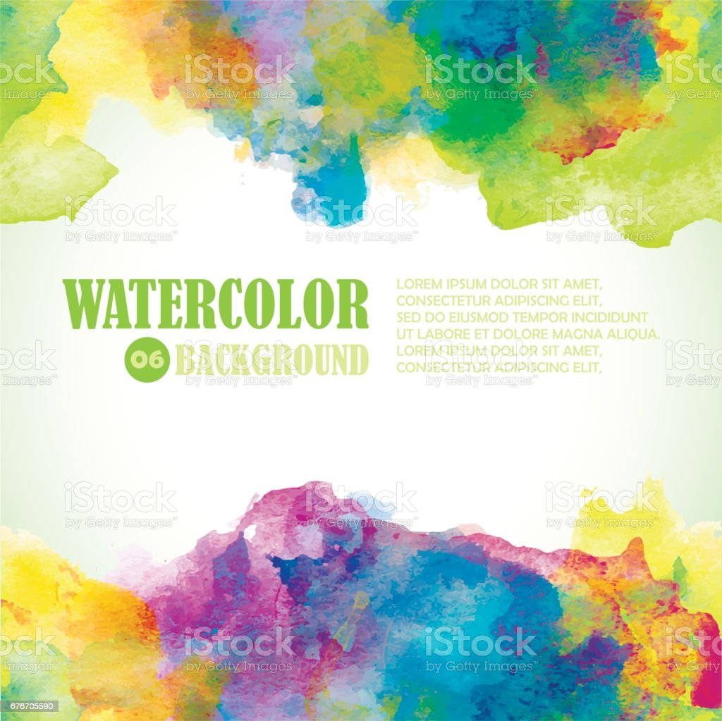 Beautiful Summer Watercolor background. Tropical colors and fresh style. Green, yellow, purple, blue. vector art illustration