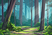Vector illustration of a beautiful sunlit forest glade with bushes, ferns, mushrooms and flowers.