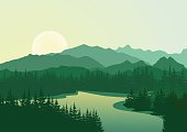 Beautiful sunrise at mountain lake with pine trees on coast. Vector landscape. Summer panorama of the mountains in shades of green. Eps 10.