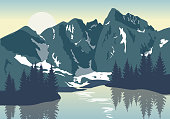 The Vignemale summit. French Pyrenees. Vector illustration.