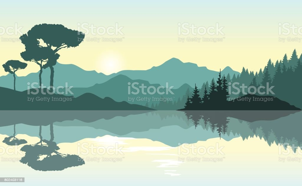 Beautiful sunrise at the mountains. Green landscape reflected at the lake. vector art illustration