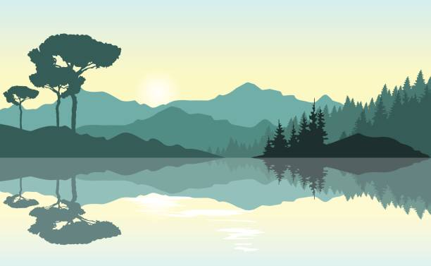 Beautiful sunrise at the mountains. Green landscape reflected at the lake. Nature background. Vector illustration. lake stock illustrations