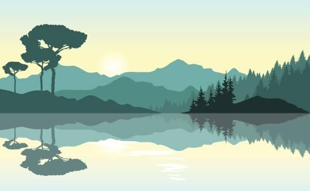 Wunderschönen Sonnenaufgang in den Bergen. Grüne Landschaft am See reflektiert. – Vektorgrafik