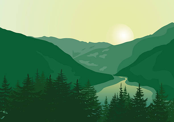 Beautiful sunrise in a mountain river canyon. Vector landscape. Background with Mountains. Eps 10. lakeshore stock illustrations