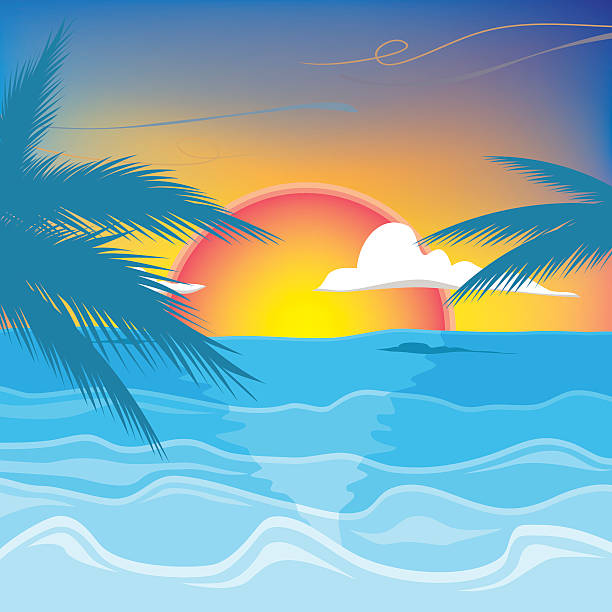 Best Sunset Beach Illustrations, Royalty-Free Vector ...