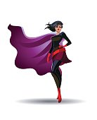 Beautiful superheroine in a pride pose suit. Vector illustration