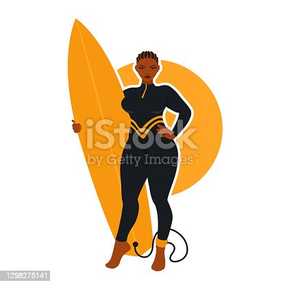 istock A beautiful surfer curvy woman holds a surfboard, wears a full black wetsuit. A surf board with a surfing leash. 1298275141