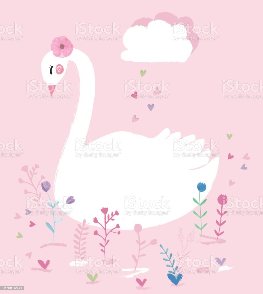 beautiful swan illustration with watercolor flowers stock