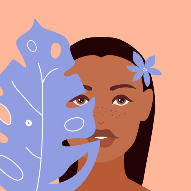 illustrazioni stock, clip art, cartoni animati e icone di tendenza di bella ragazza abbronzata su uno sfondo rosa con i capelli castani bagnati, grande foglia esotica blu copre una parte del suo viso. bella donna nella giungla tropicale. illustrazione vettoriale di stock per il concetto di viaggio - woman portrait forest