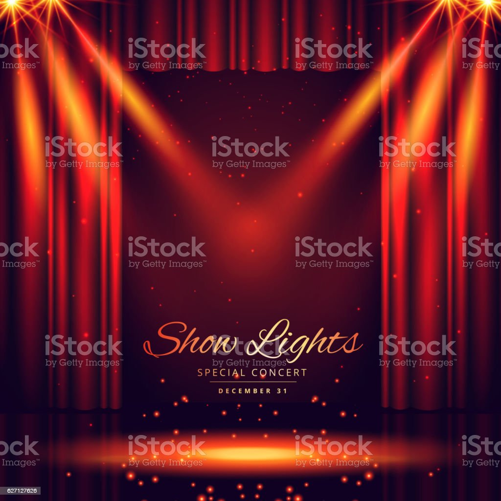 beautiful theater stage with lights focus vector art illustration
