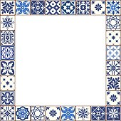 Beautiful Azulejo tiles vector frame