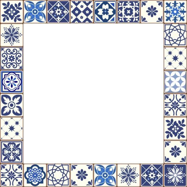stockillustraties, clipart, cartoons en iconen met mooie azulejo tegels vector frame - tegel