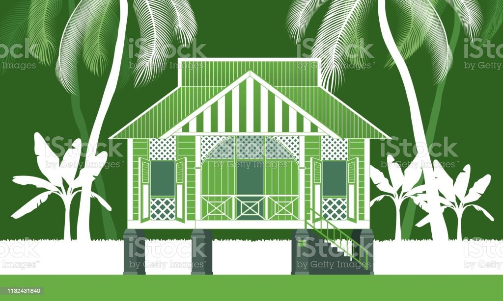 A beautiful traditional wooden Malay style village house. vector art illustration
