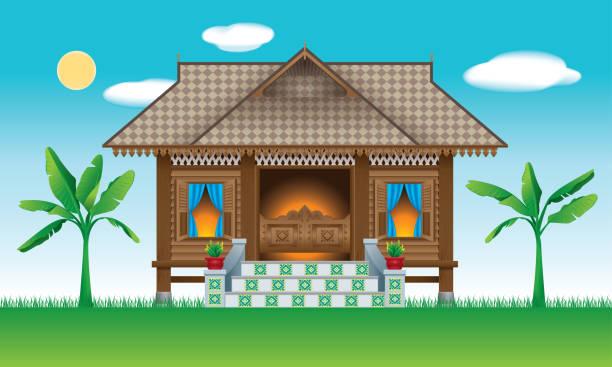 Eine schöne traditionelle hölzerne malaiischen Stil Dorfhaus. Mit Dorf-Szene. – Vektorgrafik