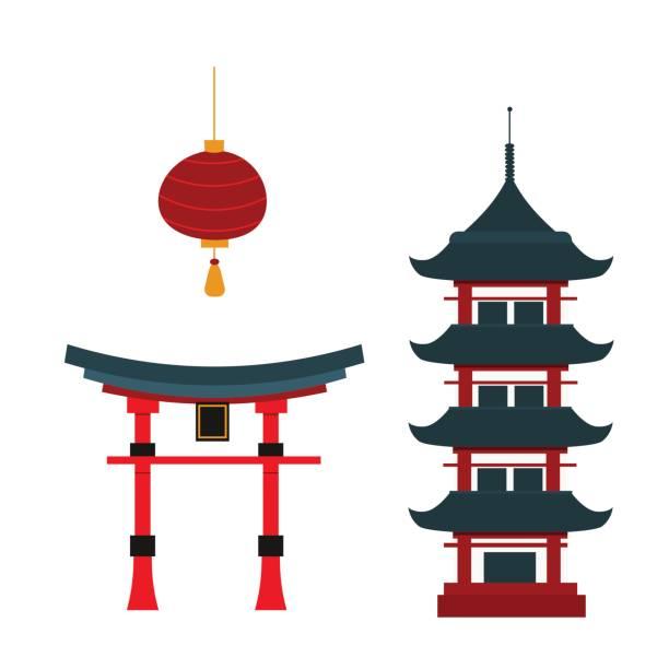 bildbanksillustrationer, clip art samt tecknat material och ikoner med beautiful travel landmarks chinese temple vector. - japanskt ursprung