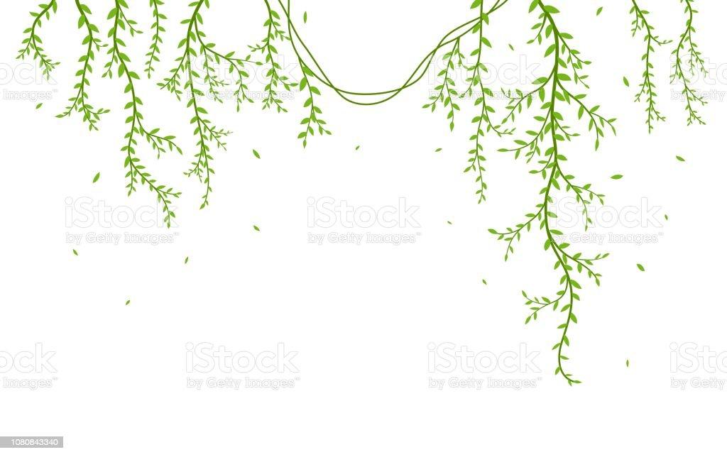 Mooie boomtak met vogels silhouet achtergrond behang sticker - Royalty-free Abstract vectorkunst