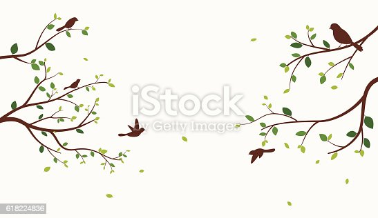 Vector Illustration of Beautiful tree with birds on white background