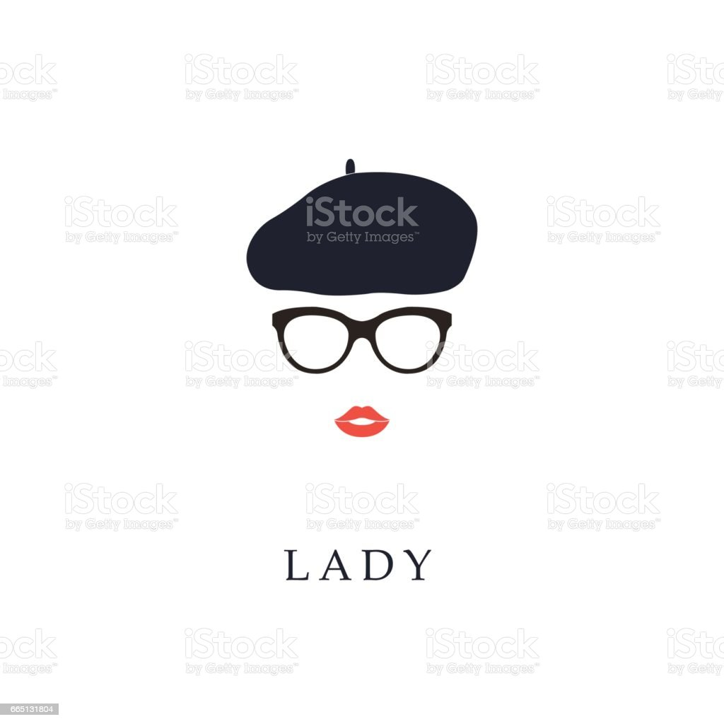 Beautiful trendy French woman wearing glasses and beret. - ilustración de arte vectorial