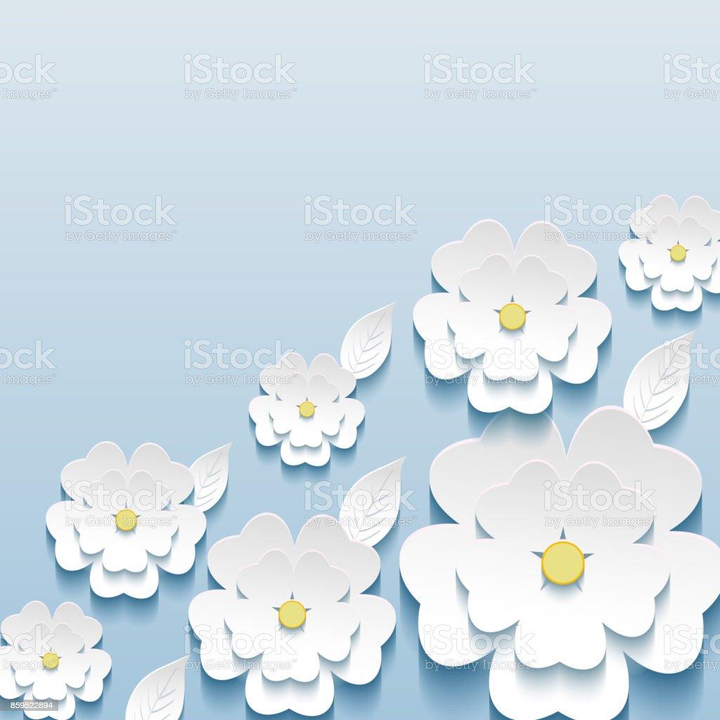 3 d のさくらの花と葉を持つ美しいおしゃれな壁紙 - 3dのベクターアート