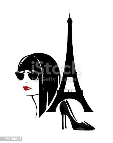 beautiful trendy woman in paris vector design set