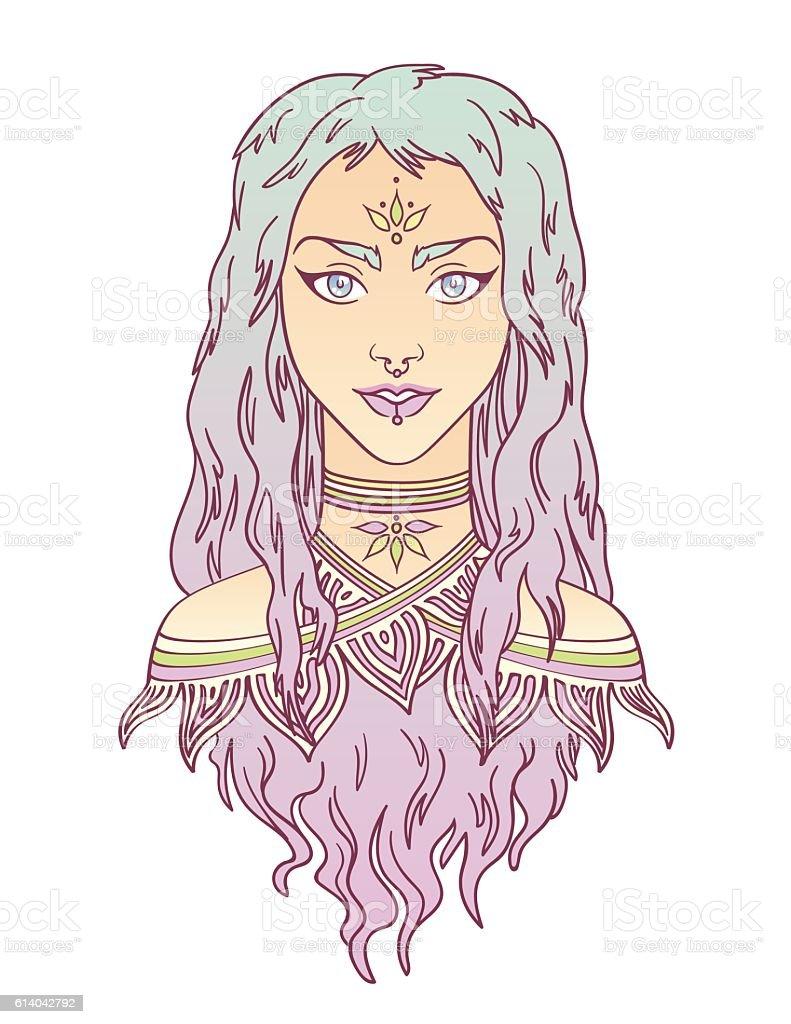 Beautiful tribal girl portrait in hand draw style. vector art illustration