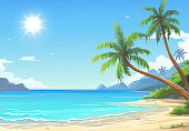 Vector illustration of a beautiful white sand beach with palm trees and blue sunny sky in the background. Summer illustration with space for text. 4-1