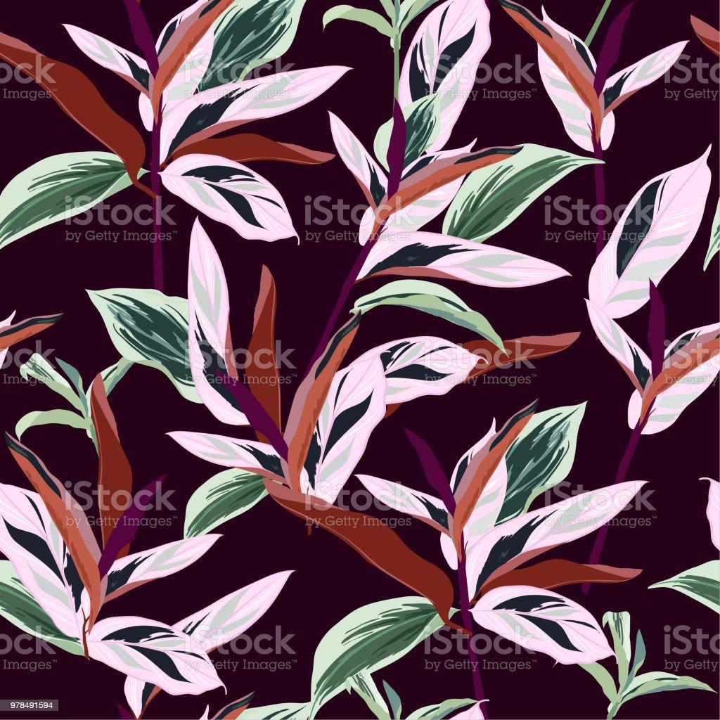 Schöne Tropische Blätter Nahtlose Grafikdesign Mit Erstaunlichen ...