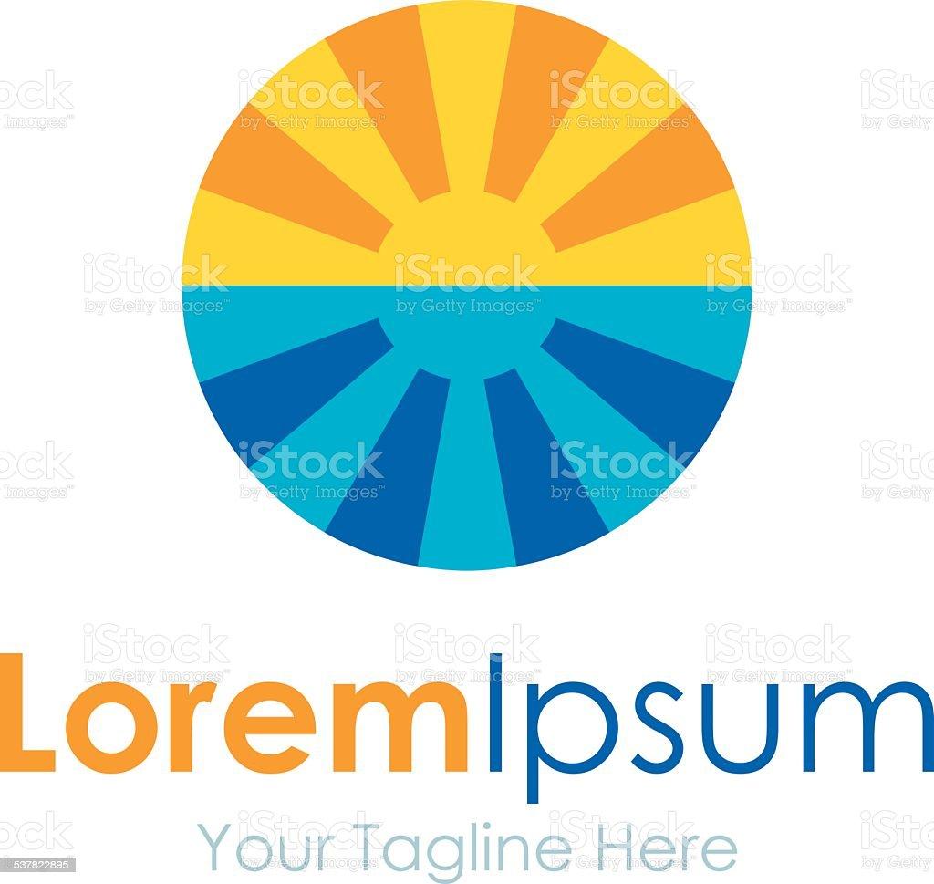 Beautiful tropical ocean sunset icon simple elements logo vector art illustration