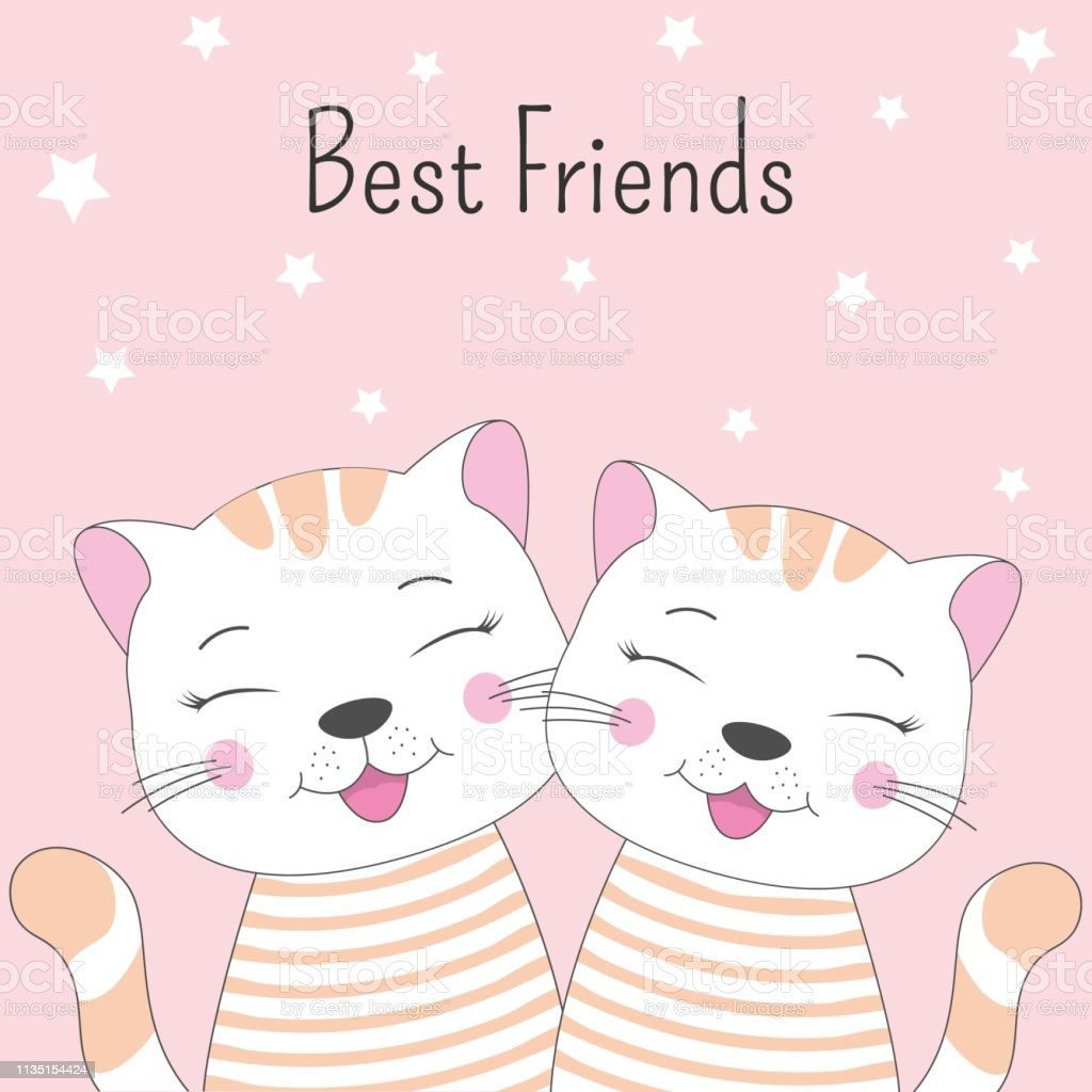 A Beautiful Two Cartoon Cute Cats With Lettering Best Friends Stock