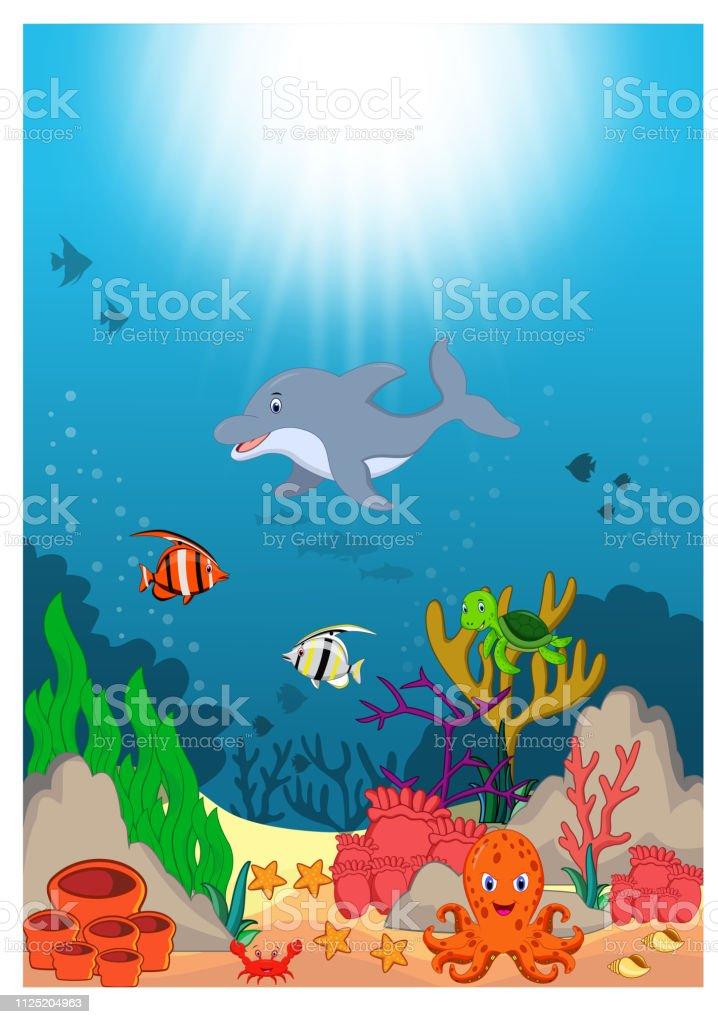 Beautiful Underwater World Cartoon vector art illustration