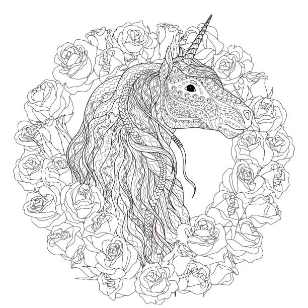 Beautiful unicorn for coloring book for adults. Adult coloring page for antistress art therapy. Beautiful unicorn with roses in tangled style for coloring. coloring book pages templates stock illustrations