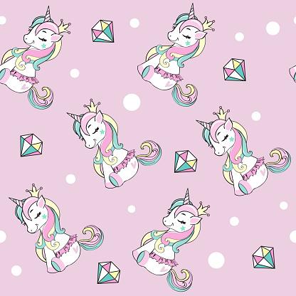 Beautiful unicorn in ballerina skirt and diamods seamless pattern on the pink background