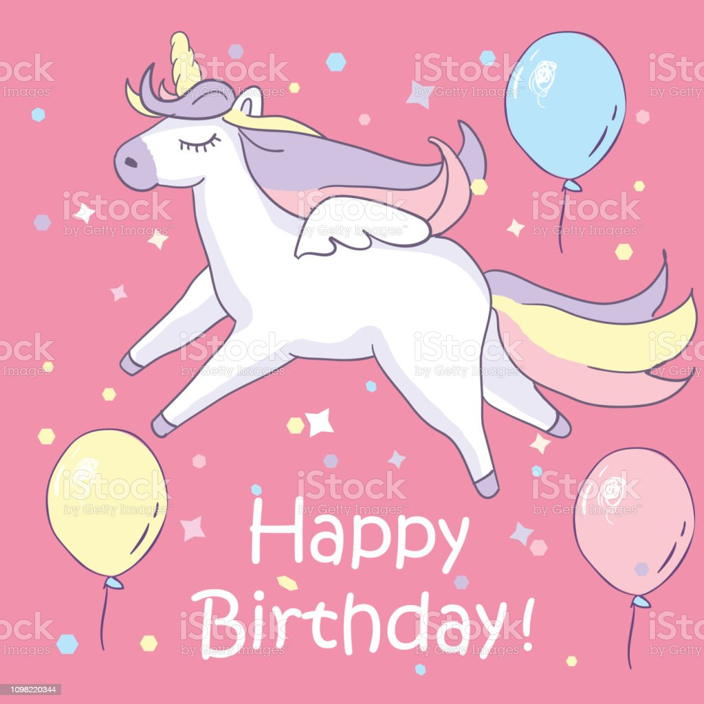 Beautiful Unicorn On Pink Background With Balloons And Happy