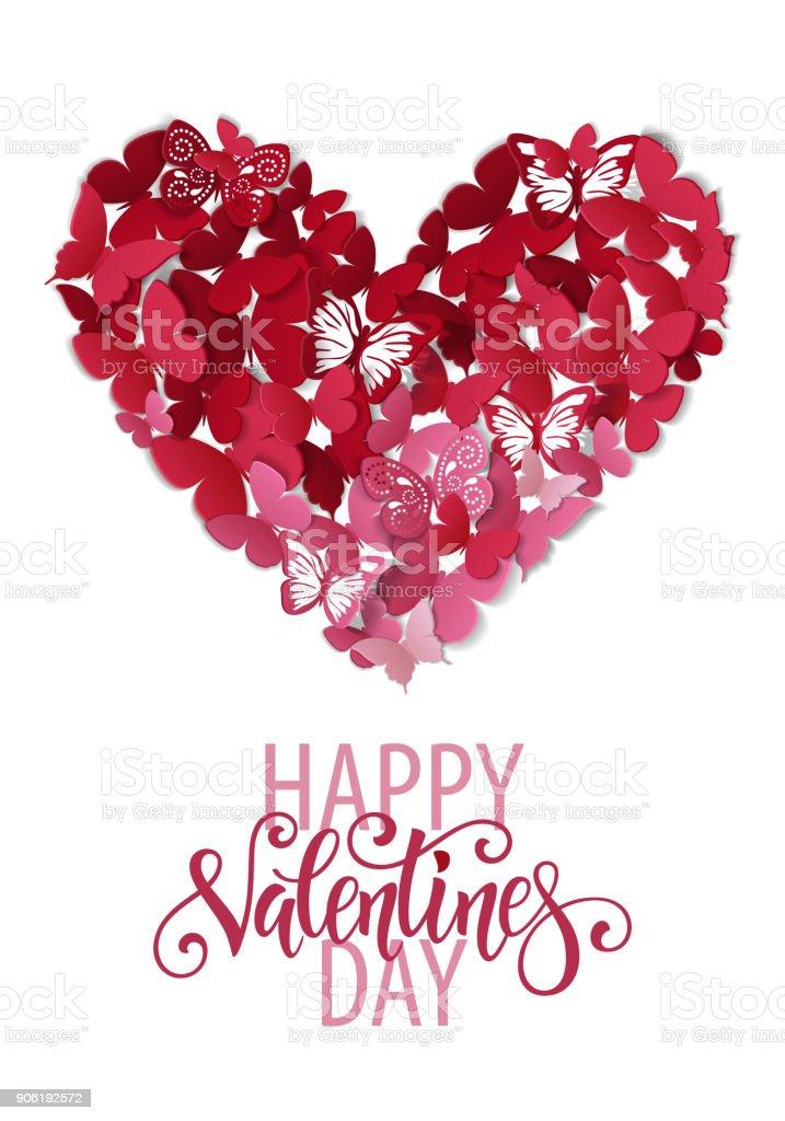 Ilustración de Corazón De San Valentín Bonita Fondo De Mariposa ...