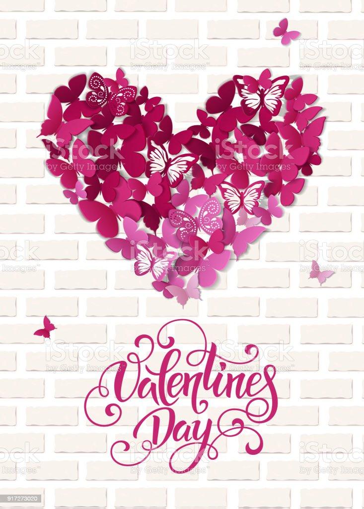 Ilustración De Corazón De San Valentín Bonita Fondo De Mariposa