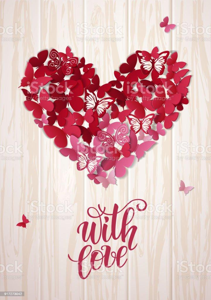 Güzel Sevgililer Kalp Arka Plan Kelebek Sevgililer Günü Kartı Vektör