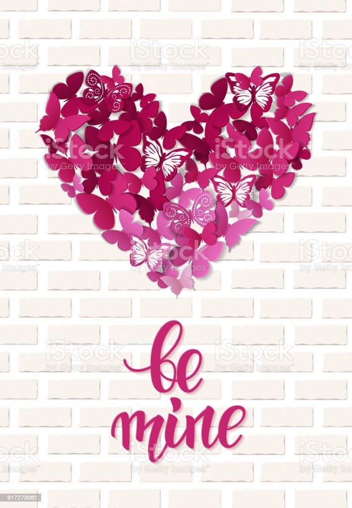 Schönen Valentinstag Herz Schmetterlinghintergrund Valentinekarte
