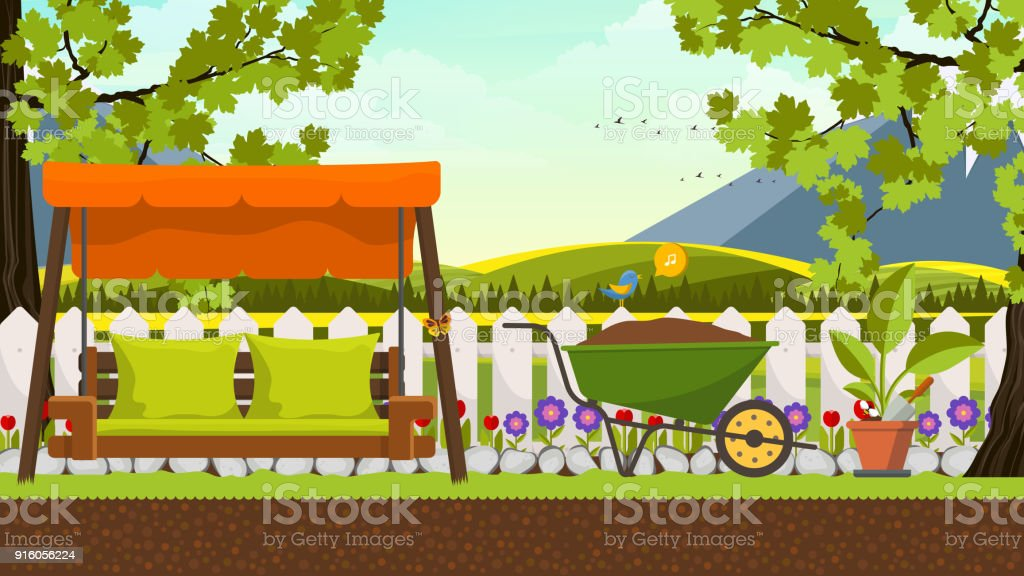 Belle Vector Art Platebande Dans Jardin Avec Lit Doscillation Fond ...