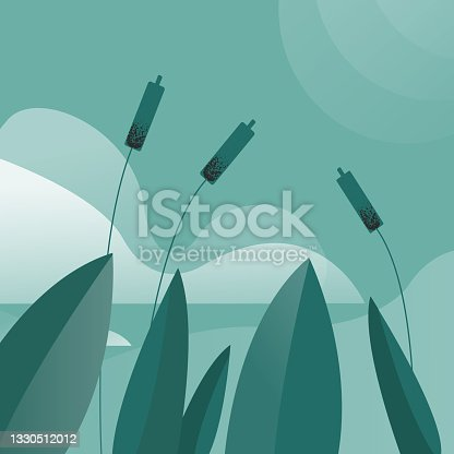 istock Beautiful vector background. Reeds and the lake. Vector nature. 1330512012