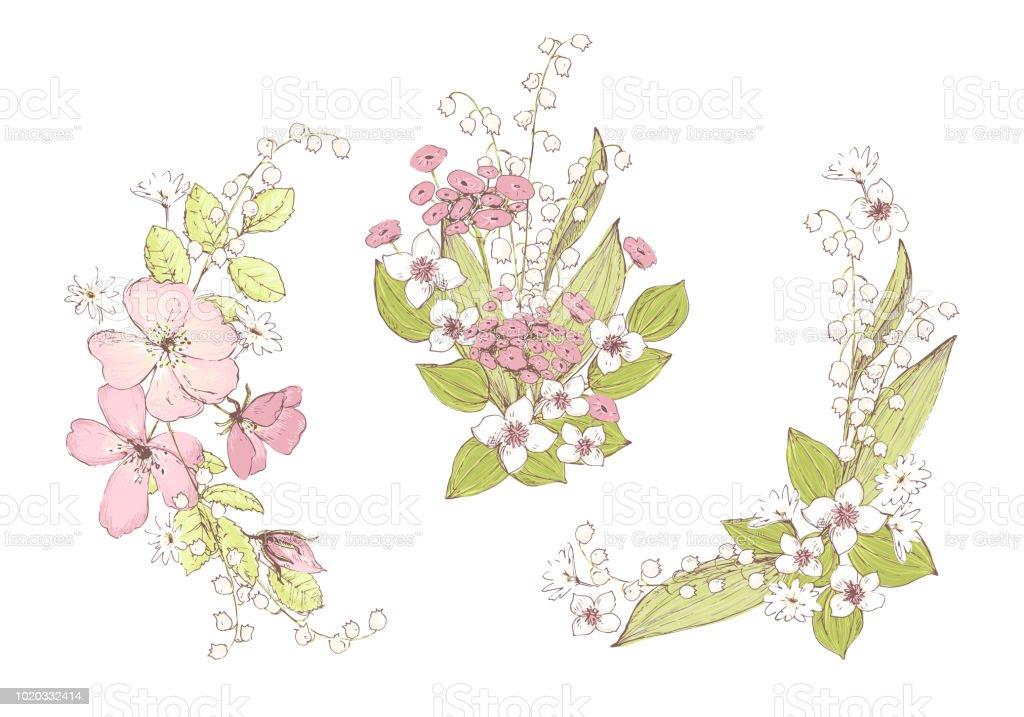 Schone Vektor Strausse Wildblumen Kompositionen Fur Die Hochzeit