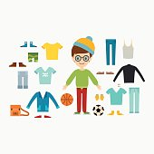 Beautiful vector cartoon fashion boy cloth constructor.