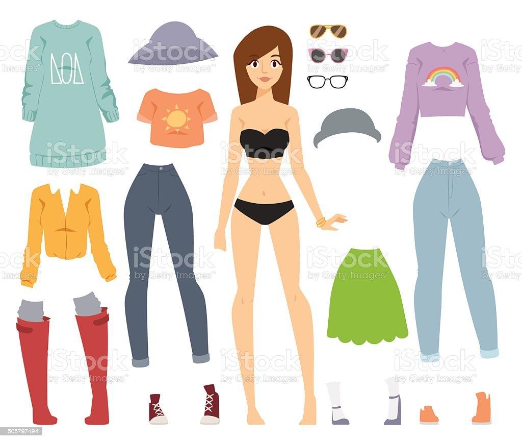Beautiful vector cartoon fashion girl model constructor  look standing over vector art illustration
