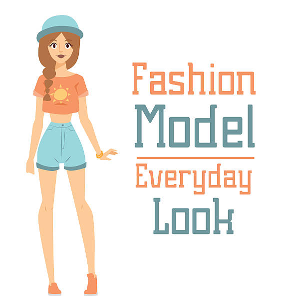 beautiful vector cartoon fashion girl model constructor  look standing over - preppy fashion stock illustrations, clip art, cartoons, & icons
