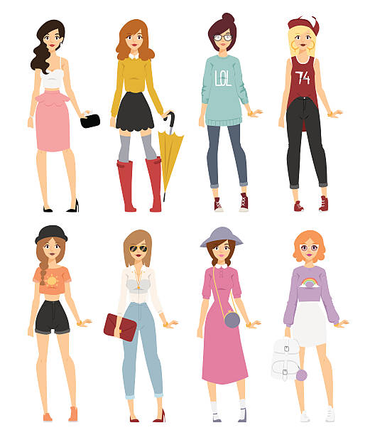 beautiful vector cartoon fashion girl models look standing over white - preppy fashion stock illustrations, clip art, cartoons, & icons