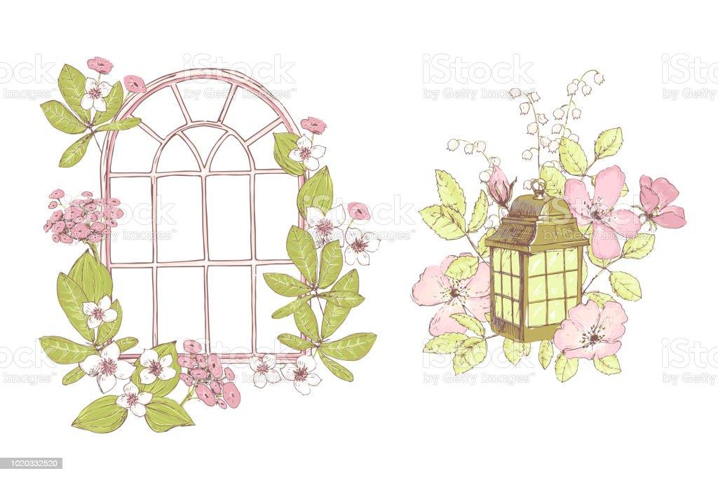 Schone Vektor Kompositionen Wildblumen Fenster Lampe Alten Garten